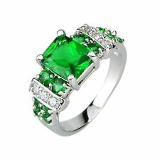 Arinna 18K WGold GP Dark lime green Square Topaz Stone Cathedral Setting Ring
