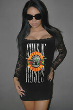 DIY Guns N Roses Mini Dress Black Lace Glam Rock Metal  XS-XL