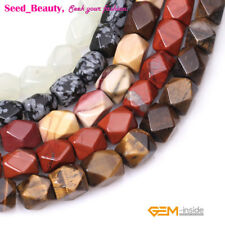 """8-9x11-12mm faceted cuboid gemstone jewelry making loose beads 15"""" ,18 materials"""