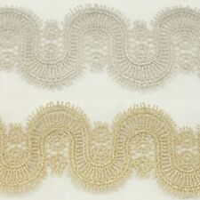 Unique Metallic Embroidered Venise Lace Trim #288 - Bridal Wedding Lace Trim