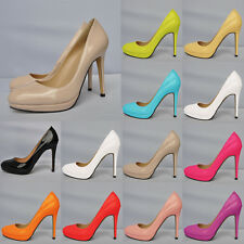 Ladys STYLE HIGH HEEL CASUAL SMART WORK PUMP COURT Patent SHOES 806-1 US4-11