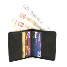 MENS SMALL SOFT BLACK LEATHER WALLET 6XCARDS 1XNOTE SECTION