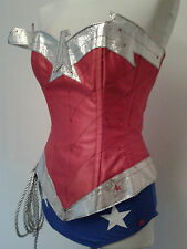 """NEW"" silver comic wonder woman corset costume with hotpants, briefs,skirt"