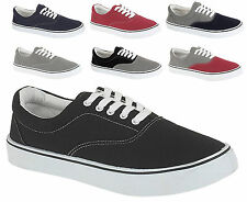 92Q MENS CANVAS CASUAL TRAINERS PLIMSOLES PLIMSOLLS SHOES LACE UP PUMPS UK 7-12