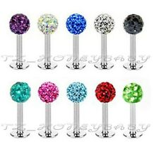 FashionCrystal Lip Stud Labret Ring Monroe Tragus Bar 1.2x8mm 4 mm Ball 9 COLOUR