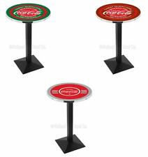 "Choose Coca-Cola Theme Color 36-42"" L217 Black Square Base Pub Table, 28/36"" Top"