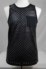 New Mens Imperious PU Faux Leather Perforated Mesh Like Tank Top S-XL Black