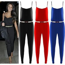 Womens Playsuit Celebrity Michelle Keegan Jumpsuit Gold Belted Trousers Top 8-14