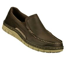 64023 BROWN SKECHERS SHOES MEN NEW SLIP ON MEMORY FOAM RELAXED FIT LOAFER CASUAL