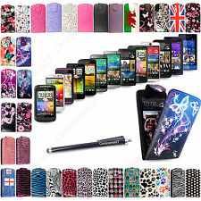 Printed Leather Magnetic Pouch Flip Case Cover For HTC Mobile Phones + Stylus