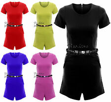Womens Ladies Cap Sleeve Plain Belted Front Pocket Back Zip All in one Playsuit