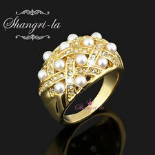 6405 18K 18CT YELLOW GOLD GP Ladies PEARL RING SWAROVSKI CRYSTAL ALL SIZE