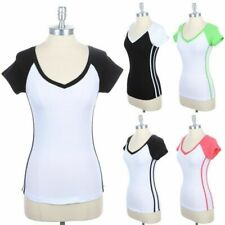 Side Double Striped V Neck Raglan Short Sleeve T Shirt Cotton Casual Top S M L