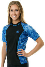 Aqua Design Women's Short Sleeve Rash Guard Swim Surf Snorkeling Ladies Shirt