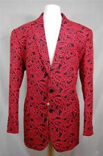 Mens Fashion Venezzi Red/Black Paisley Jacquard 2 Button Blazer Sport Coat L-4X