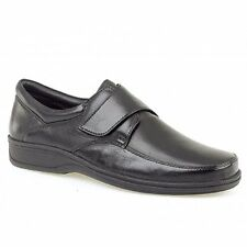 Roamers Mens Soft Leather Comfy Wide E Fit Velcro Bar Casual Office Shoes Black