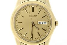 Ladies Seiko SWZ002P1 Gold-Tone Stainless Steel Day Date Gold-Tone Dial Watch