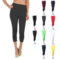 Basic Seamless Solid Plain Capri Length Leggings Casual Nylon Spandex ONE SIZE
