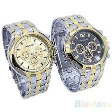 Men's New Golden Black Dial Alloy Sports Band Steel Case Quartz Wrist Watch BEAA