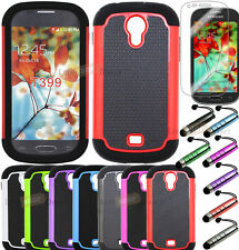 Rugged Hybrid Heavy Duty Hard Case Cover Samsung Galaxy Light T399 Tmobile + LCD