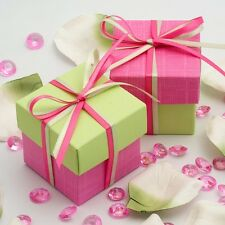 Bright Pink & Light Green Two Tone Square Box & Lid Wedding Favour Party Boxes