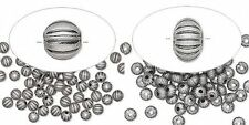 100 Antiqued Silver Plated Brass Corrugated Round or Saucer Small Spacer Beads
