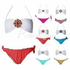 Sexy Damen Push Up Bandeau Bikini Bling Strass Deko Pushup Badeanzug S M L 32-38