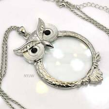"Gold & Silver Tone Magnifying Glass Pendant 31"" Owl Necklace SJ004GS"