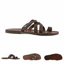 Handmade mens brown leather flip flops sandals Made in Italy