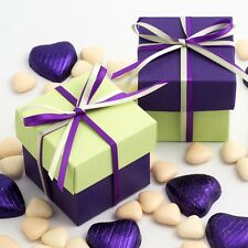 Purple & Light Green Silk Two Tone Square Box & Lid Wedding Favour Party Boxes