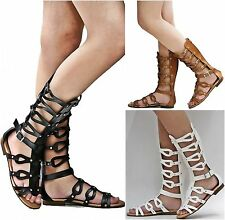 New Women IA7 Tan Black White Cutout Gladiator Mid-Calf Tall Sandals sz 6 to 10