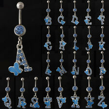 Blue Crystal & Letter with Butterfly Surgical Steel Belly Button Bar Navel Ring