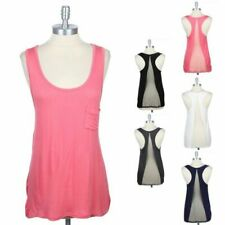 Triangle Mesh Back Tank Top Chest Pocket Scoop Neck Sleeveless Racerback S M L