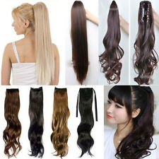 Curly Wavy Straight Around Wrap Clip In Ponytail Hair Extension Pony tail Piece