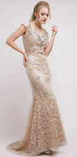 CHAMPAGNE FORMAL OCCASION MOTHER OF BRIDE /GROOM CLASSY EVENING SHORT DRESS 4-18