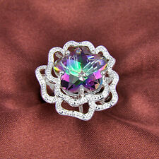 HUGE Flower Natural Rainbow Fire Topaz Gemstone Silver Ring Sz 6 7 8