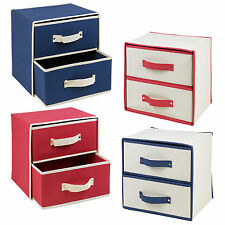 Collapsible Fabric 2 Drawer Storage Boxes Containers Bits & Bobs Organiser Unit
