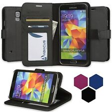 Abacus24-7 Fashion Vegan Leather Flip Wallet Case Stand for Samsung Galaxy S5