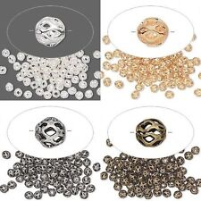 100 Small 4mm Cutout Weave Spacer Accent Beads Silver Gold Antiqued U pick Color