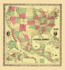 Old Railroad Map - United States, Territories, Mexico, Caribbean 1872 - 23 x 24