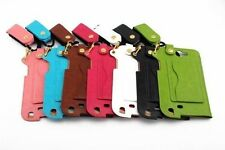 Luxury w/Neck Band Wrist-let Leather Back Case Cover For iPhone Samsung Phone