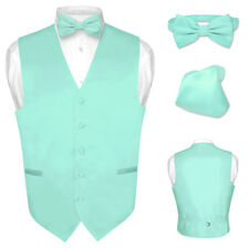 Men's Dress Vest BOWTie AQUA GREEN Color Bow Tie Set for Suit or Tuxedo
