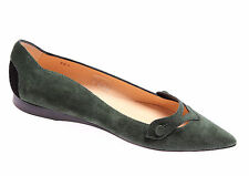 Women's Shoes Decolletè Flat TOD'S Suede Audrey Dark Green Made In Italy New