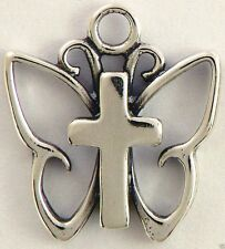 Butterfly Cross Necklace w.Charm Jewelry ~.925 Sterling Silver Metal - Insects