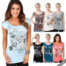 Womens Ladies T-shirt Butterfly Floral Foil Print Boat Neck Batwing Top Blouse