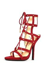 WOMENS WINE RED OPEN TOE STRAPPY CAGED GLADIATOR HIGH HEEL BOOTS SANDAL STILETTO