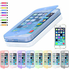 FLIP SOFT Crystal Silicone CASE COVER FOR iPHONE 5 5S +SCREEN PROTECTOR