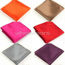 Mens Silk Satin Pure Color Pocket Square Hankerchief Suit Accessories W3001 FST