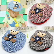 Cute Elastic Bear Baby Infant Boy Girl Casquette Plaid Beret Sun Hat Peaked Cap
