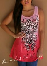 VOCAL CRYSTAL CORAL LEOPARD CROSS OMBRE TIE DYE TUNIC TANK TOP SHIRT S M L XL